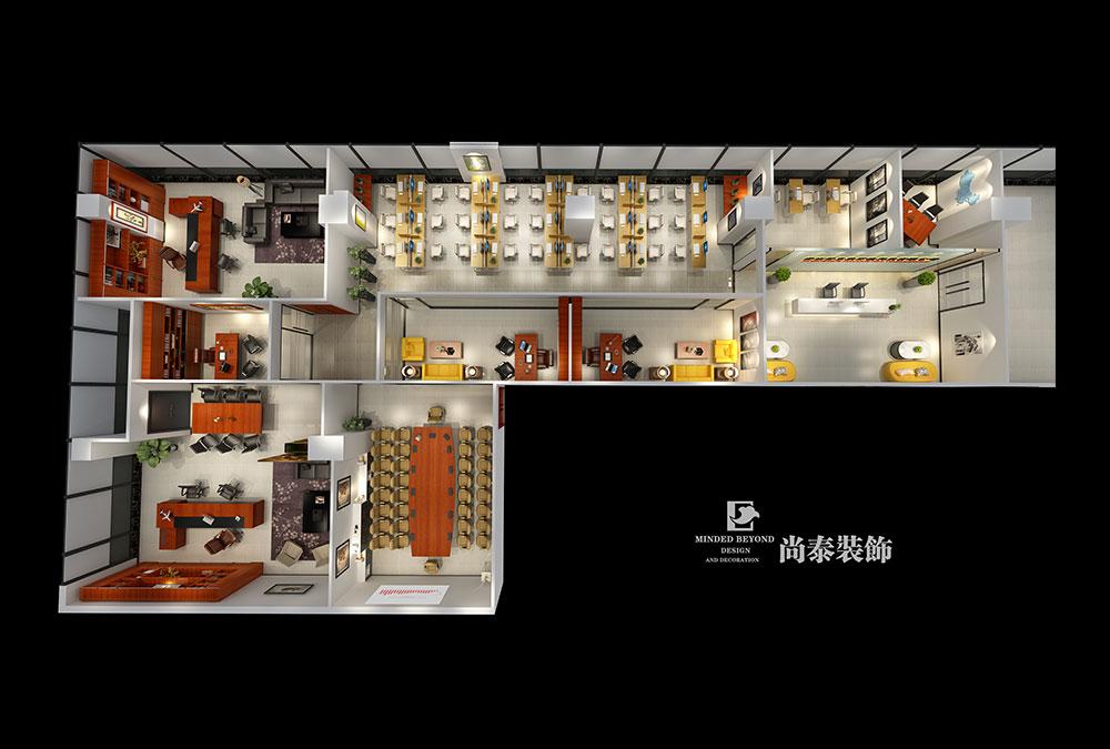 新中式办公室江苏11选5走势图下载效果图-新东荣环境