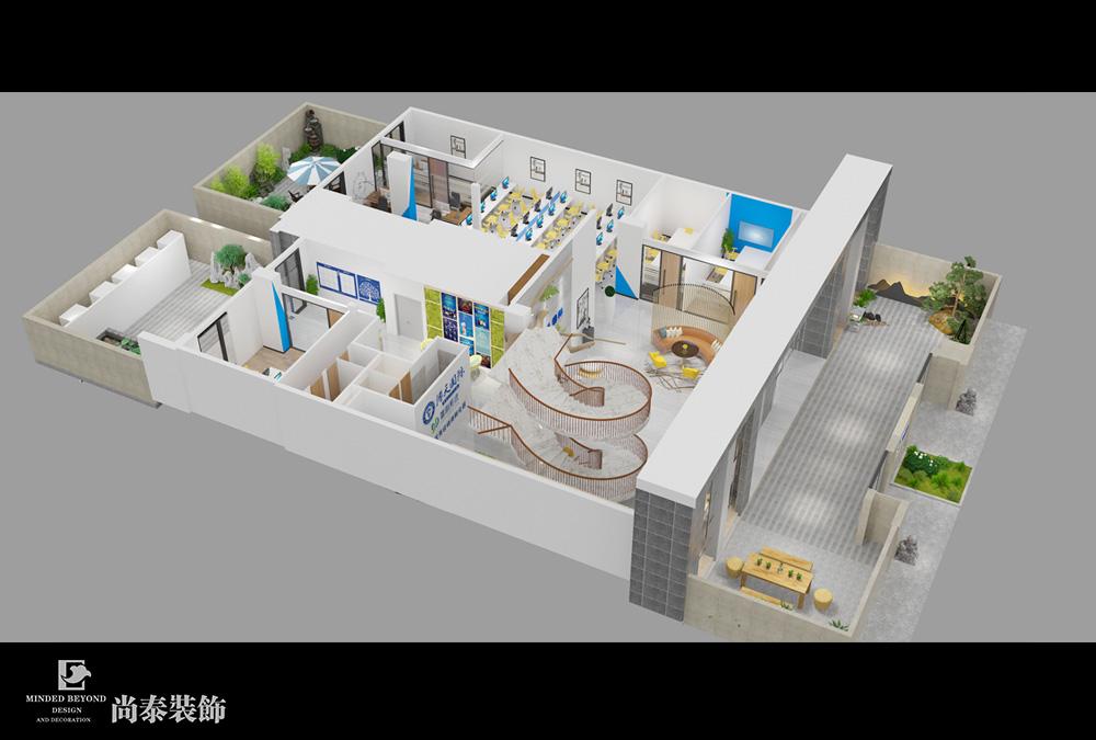 2000平米办公室江苏11选5走势图下载效果图-博天国际