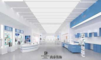 高端大气蓝白展厅设计效果图