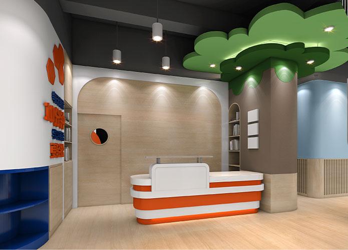 140㎡儿童英语教育空间设计效果图 | 灵格风蓝天成长计划